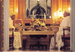 Hassan II et Jean Paul II en discussion